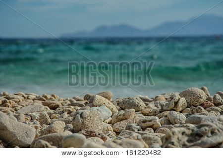 turquoise sea and stone on the beach in red sea location tropical