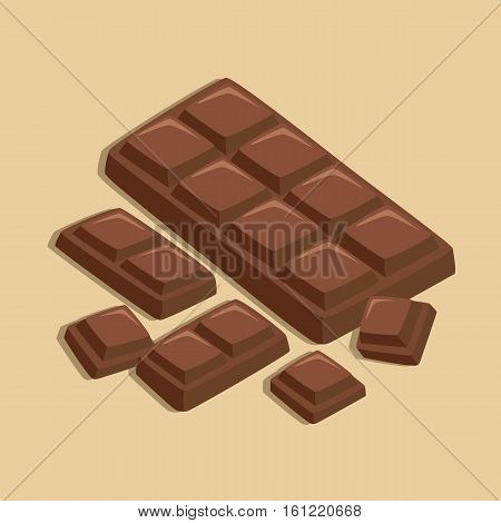Chocolate Bar and Chocolate Pieces isolated on Brown Background Vector Illustration