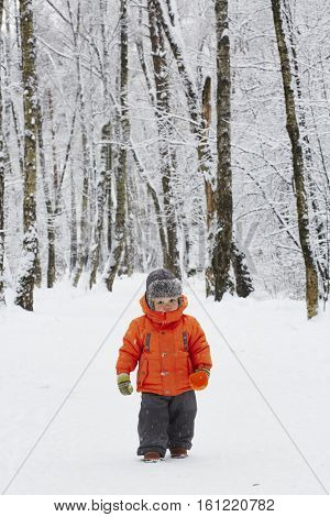 little boy is walking on the winter  forest