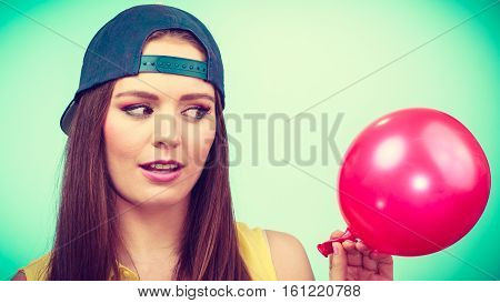 Teenage Girl With Red Balloon.