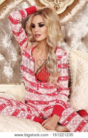 Gorgeous Sexy Woman With Luxurious Blond Hair In Cozy Home Clothes