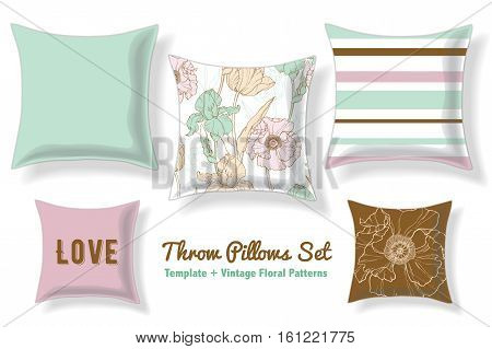 beautiful Set Of Floral Throw Pillows In Matching Unique Pastel Seamless Patterns And Designs. Square Shape. Editable Vector Template. Surface Pattern Textile Design.