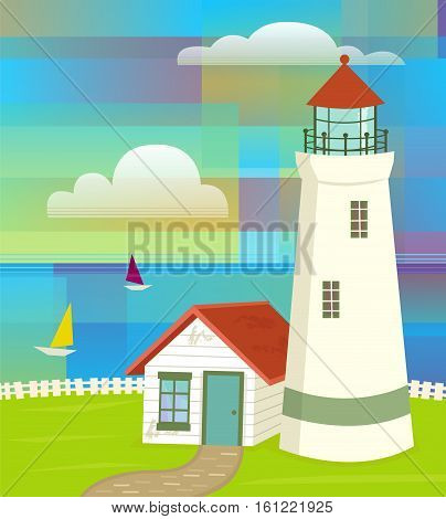 Lighthouse with colorful abstract sky and sailboats. Eps10