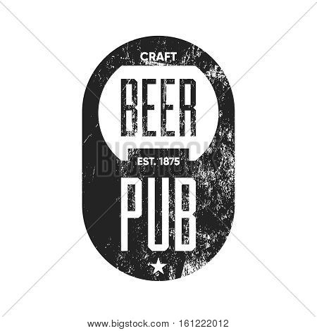 Craft beer pub logo concept isolated on white background. Beer bottle opener silhouette. Brew pub sign vector illustration. Simple mono craft beer icon infographic pictogram.