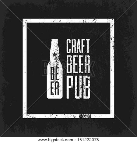 Craft beer pub logo concept isolated on dark background. Beer bottle silhouette. Brew pub sign vector illustration. Simple mono craft beer icon infographic pictogram. Brewery label artwork design. poster