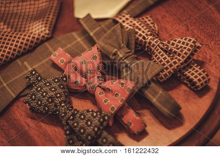 Custom made bow tie and necktie in tailor studio