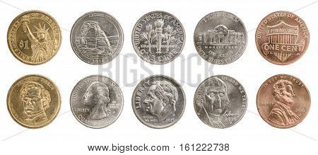 US coins collection obverse and reverse isolated on white