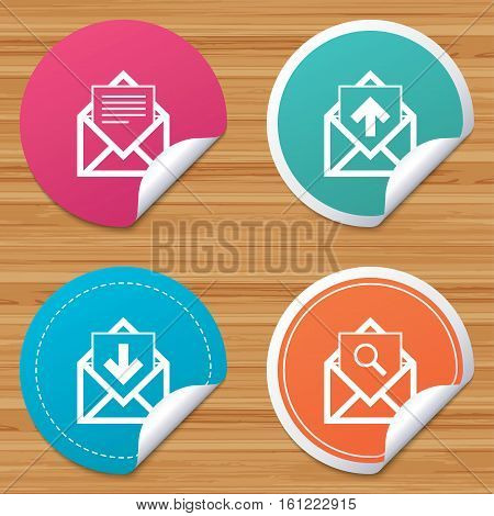 Round stickers or website banners. Mail envelope icons. Find message document symbol. Post office letter signs. Inbox and outbox message icons. Circle badges with bended corner. Vector