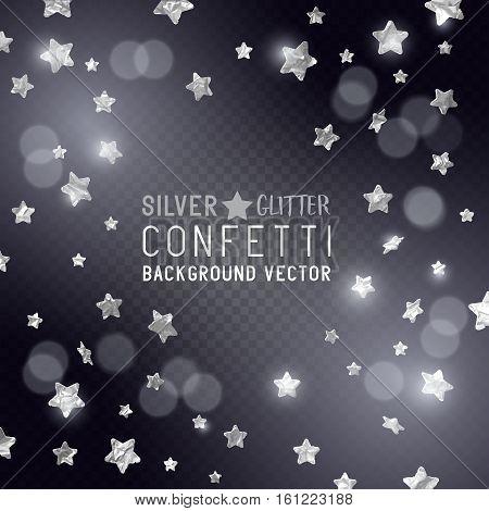 Falling Glittery silver star shaped metallic confetti celebration background. Vector illustration.