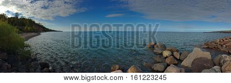 panoramic photograph of a Lake Superior shoreline