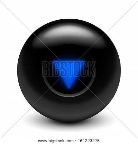 illustration of black color magic ball on white background with shadow