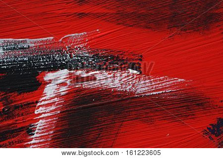 Black, White, Red Acrylic Paint  On Metal Surface. Brushstroke 4