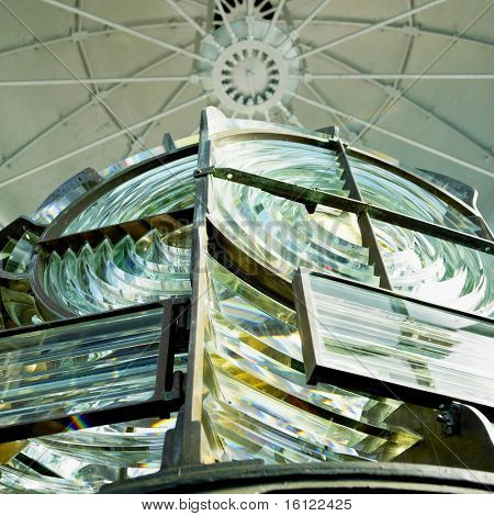 lighthouse's interior, Fresnel lens, Cayo Paredon Grande, Camaguey Province, Cuba poster