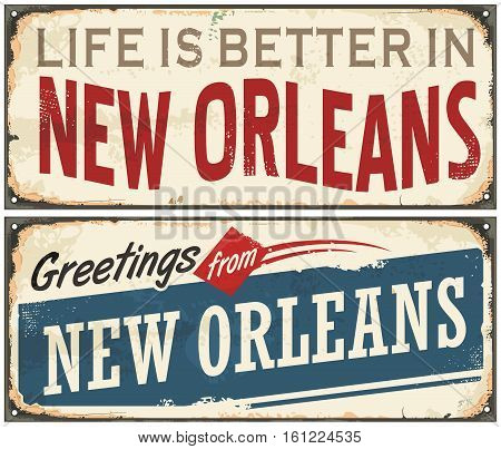 New Orleans Florida retro tin sign design on old rusty background. USA cities vintage set. Greetings from New Orleans.