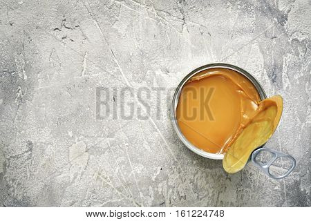 Dulce De Leche In A Metal Tin.top View With Space For Text.