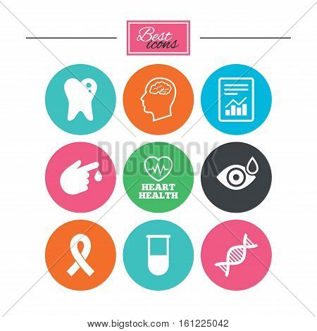 Medicine, medical health and diagnosis icons. Blood test, dna and neurology signs. Tooth, report symbols. Colorful flat buttons with icons. Vector