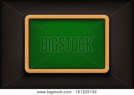 illustration of wooden blackboard wit hgreen surface on black background