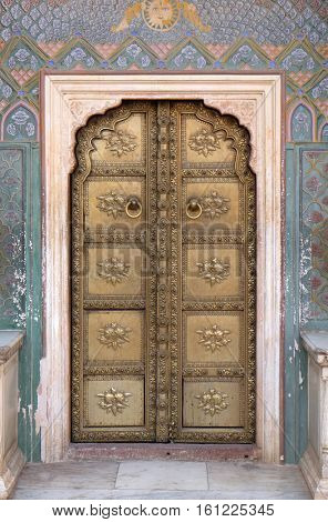 JAIPUR, INDIA - FEBRUARY 16: Ornate door at the Chandra Mahal, Jaipur City Palace in Jaipur, Rajasthan, India, on February 16, 2016.