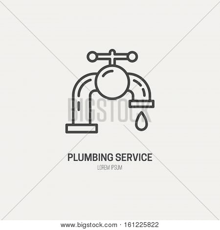 Modern line style logo for repair company or plumbing service. Vector line icon series.