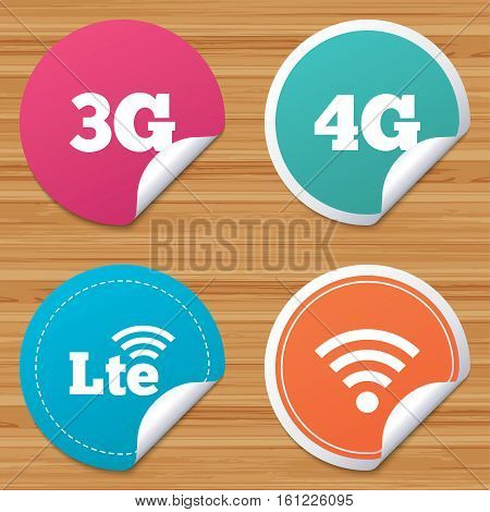 Round stickers or website banners. Mobile telecommunications icons. 3G, 4G and LTE technology symbols. Wi-fi Wireless and Long-Term evolution signs. Circle badges with bended corner. Vector