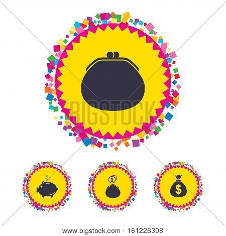 Web buttons with confetti pieces. Wallet with cash coin and piggy bank moneybox symbols. Dollar USD currency sign. Bright stylish design. Vector