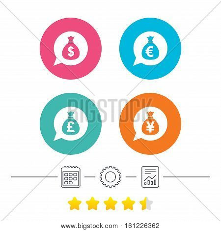 Money bag icons. Dollar, Euro, Pound and Yen speech bubbles symbols. USD, EUR, GBP and JPY currency signs. Calendar, cogwheel and report linear icons. Star vote ranking. Vector