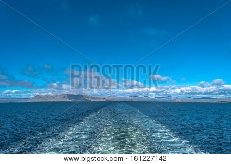 Clouds Blue Sky And Ship Track In Atlantic Ocean, Summer