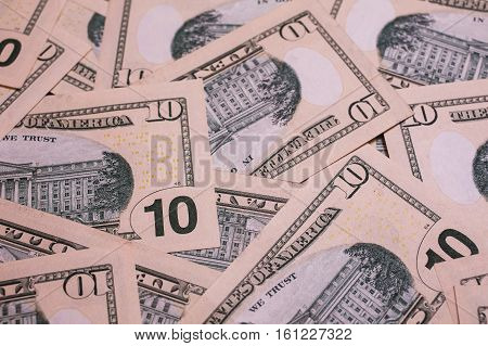 background of the money ten dollar bills downside back side. background of dollars