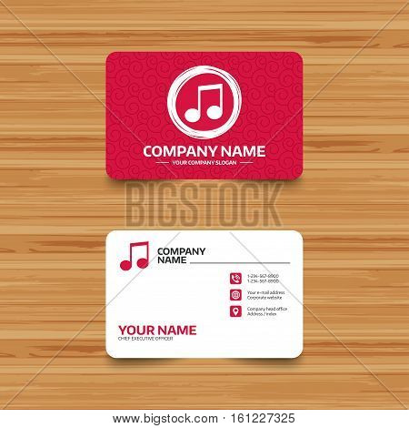 Business card template with texture. Music note sign icon. Musical symbol. Phone, web and location icons. Visiting card  Vector