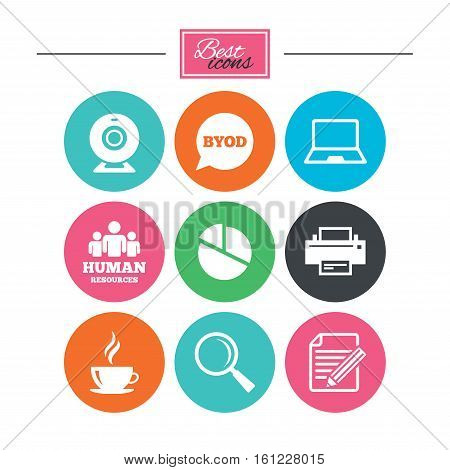 Office, documents and business icons. Pie chart, byod and printer signs. Report, magnifier and web camera symbols. Colorful flat buttons with icons. Vector