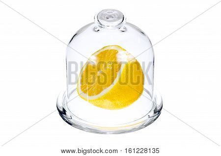 Half a lemon in a glass flask for food