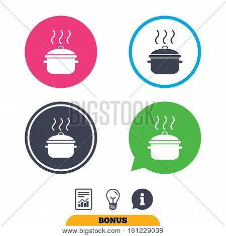 Cooking pan sign icon. Boil or stew food symbol. Report document, information sign and light bulb icons. Vector