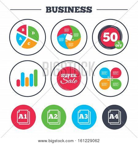 Business pie chart. Growth graph. Paper size standard icons. Document symbols. A1, A2, A3 and A4 page signs. Super sale and discount buttons. Vector