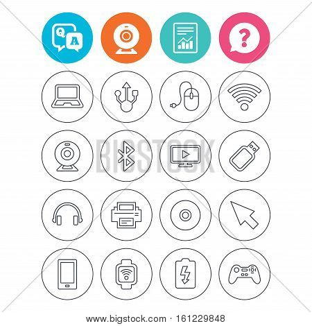 Computer elements icons. Notebook, usb port and smartphone. Printer, smart watch and game console joystick. Bluetooth, flash stick and cursor pointer. Report document, question and answer icons