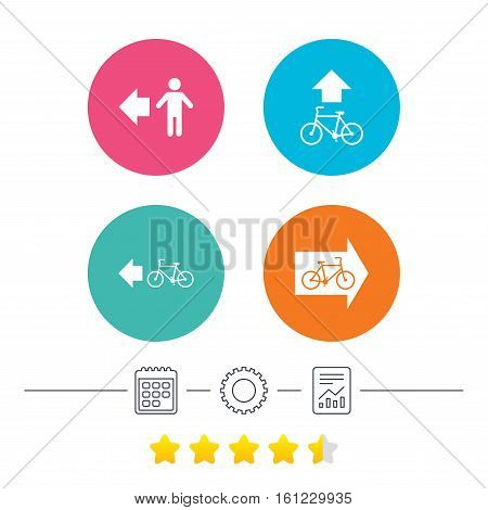 Pedestrian road icon. Bicycle path trail sign. Cycle path. Arrow symbol. Calendar, cogwheel and report linear icons. Star vote ranking. Vector