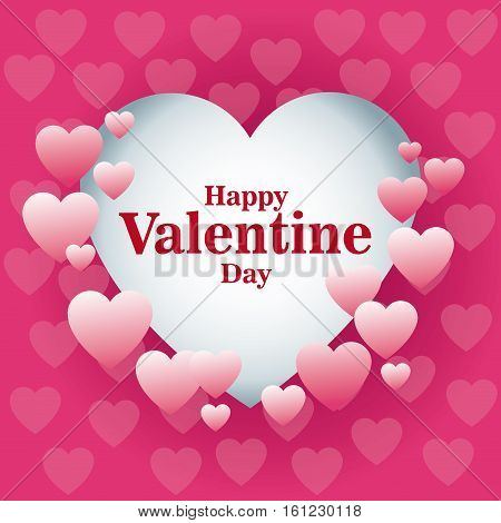 beautiful card happy valentines day frame heart pink background vector illustration eps 10