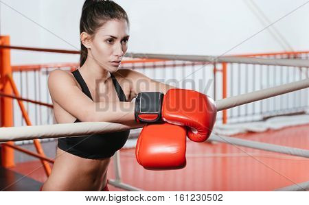 Ready for a fight. Pretty focused slim lady waiting for something while standing near the ring ropes and wearing red boxing gloves