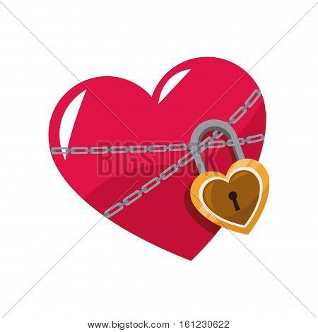 love glossy heart pink lock chain vector illustration eps 10