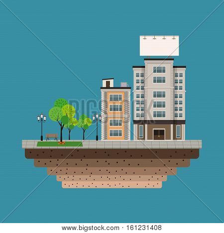 building city with large blank urban billboard blue background vector illustration eps 10