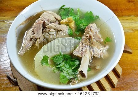 boiled winter melon with duck soup on bowl