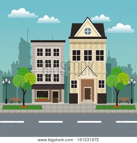 house building residential urban streetscape vector illustration eps 10