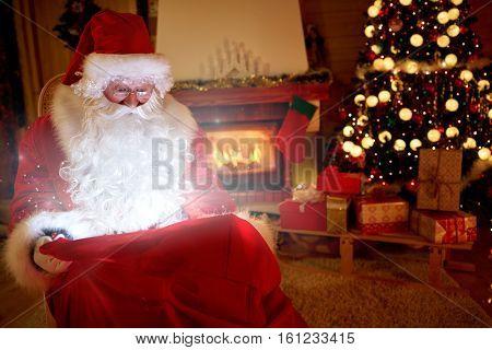 Real Santa Claus bring  magic of Christmas in gift box