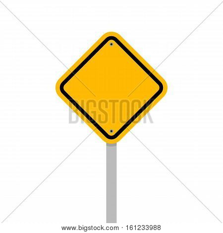 Blank yellow roadsign isolated on white background design element vector illustration