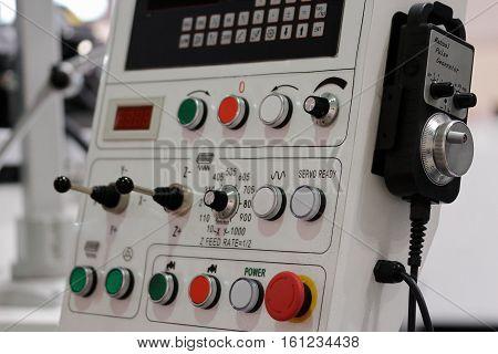 CNC control panel with pendant manual pulse generator.