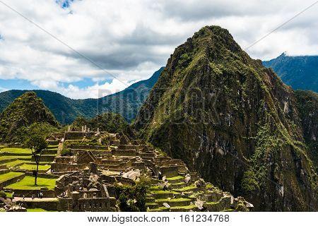 View of the Lost Incan City of Machu Picchu near Cusco, Peru. Machu Picchu is a Peruvian Historical Sanctuary.