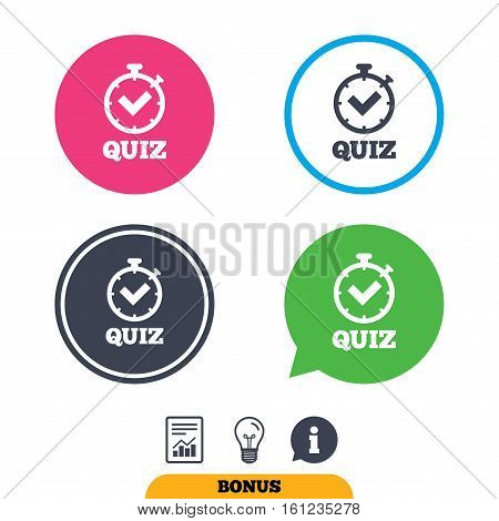 Quiz timer sign icon. Questions and answers game symbol. Report document, information sign and light bulb icons. Vector