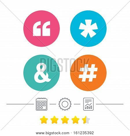 Quote, asterisk footnote icons. Hashtag social media and ampersand symbols. Programming logical operator AND sign. Calendar, cogwheel and report linear icons. Star vote ranking. Vector