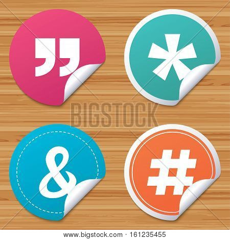 Round stickers or website banners. Quote, asterisk footnote icons. Hashtag social media and ampersand symbols. Programming logical operator AND sign. Circle badges with bended corner. Vector