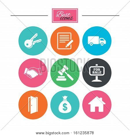 Real estate, auction icons. Handshake, for sale and money bag signs. Keys, delivery truck and door symbols. Colorful flat buttons with icons. Vector