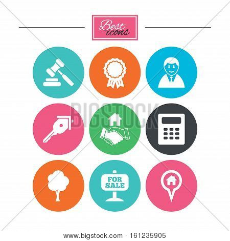 Real estate, auction icons. Handshake, for sale and calculator signs. Key, tree and award medal symbols. Colorful flat buttons with icons. Vector